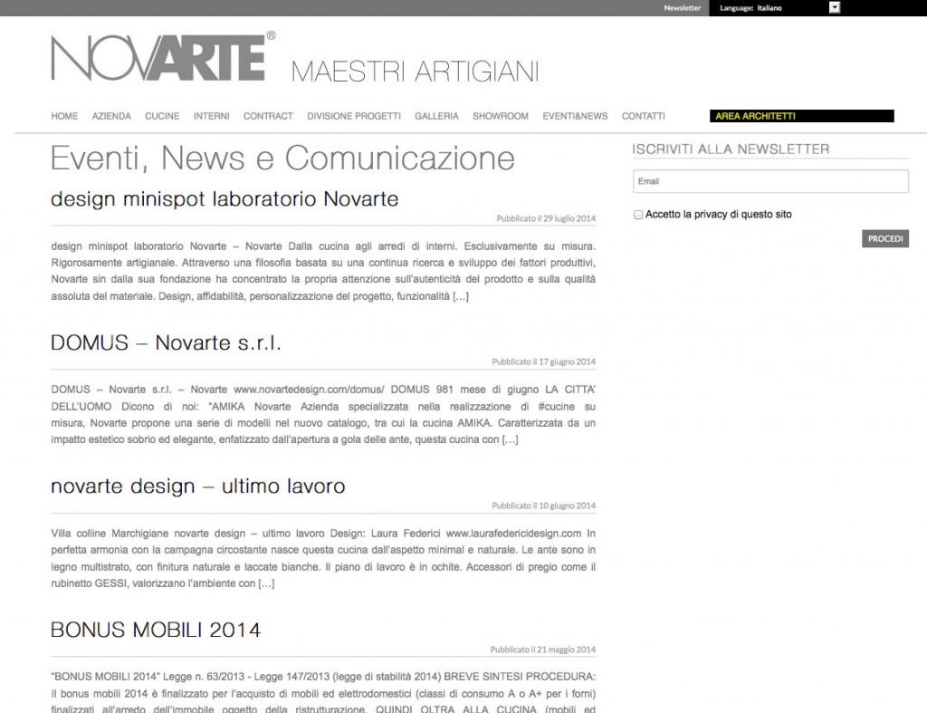 Pagina news sito web
